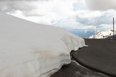 Snow wall in Maritime Alps, France Stock Photos