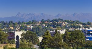 Maritime Alps mountain view. From Marseille city coast. France Royalty Free Stock Photos