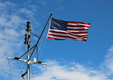 Maritime American Stars and Stripes Flag on Ship Pole Royalty Free Stock Image