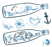 Maritime, bottles, fish Royalty Free Stock Images