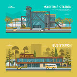 Maritime and bus stations Stock Images