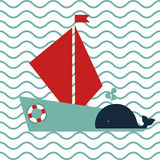 Maritime card. With a whale and a ship Stock Images