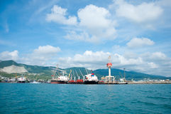 Maritime cargo port in Novorossiysk Royalty Free Stock Photo