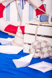 Maritime décor paper boats, shells Royalty Free Stock Photo