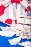 Maritime decor paper boats, shells Royalty Free Stock Photo