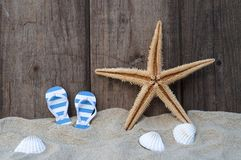 Maritime Decoration with shells, starfish, sailing ship, fishing net on blue drift wood stock images