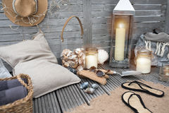 Maritime decoration on wood. Maritime decoration with beach objects on a wooden terrace Stock Images