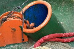 Maritime details. Anchor hole or porthole in the hull of a ship Stock Images