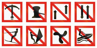 Maritime fairway sign of Finland - Anchoring is forbidden.  Royalty Free Stock Image