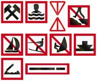 Maritime fairway sign of Sweden - Work in progress in or next to the water.  Royalty Free Stock Photography