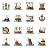 Maritime flat color icons Stock Photos
