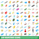 100 maritime icons set, isometric 3d style Royalty Free Stock Image