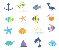 Maritime icons vector set. Maritime icons in cartoon style. Set of fish dolphins starfish seashells palm sun in cartoon style Stock Photography