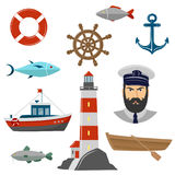 Maritime icons on white background. Vector maritime icons on white background Stock Photo