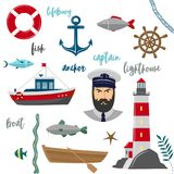 Maritime icons on white background Stock Photography