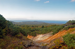 Maritime landscape. View of sea of Okhotsk from mountain royalty free stock photography