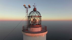 Maritime Lighthouse Aerial Shoot View at Sunset stock video footage