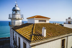 Maritime, Lighthouse penyscola views, beautiful city of Valencia Royalty Free Stock Photos