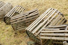 Maritime Lobster Traps. This image shows a row of lobster traps Stock Photos
