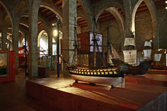 The Maritime Museum in Barcelona, Catalonia, Spain. An old boat on display at the Maritime Museum in Barcelona Royalty Free Stock Photography