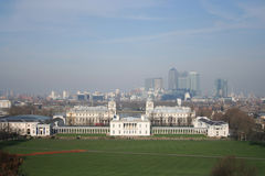 Maritime Museum and Docklands. Maritime Museum Royal naval college, Greenwich and Dockland's skyline London Stock Images