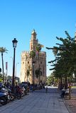 Maritime Museum in the Golden Tower on the banks of the River Guadalquivir in Seville Spain. The Torre del Oro or the Tower of Gold is a dodecagonal military stock photo