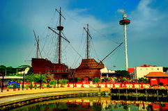 The Maritime Museum. Is a museum in Malacca City, Malacca, Malaysia. The museum main exhibits the replica of Flor de la Mar with 34 metres high, 36 metres long stock image