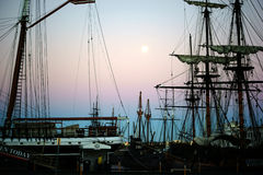 Maritime Museum San Diego. San Diego, United States - December 25, 2015: Old sailing ships of the Maritime Museum of San Diego are in the sunrise of 25 December stock photography