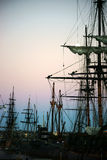 Maritime Museum San Diego. San Diego, United States - December 25, 2015: Old sailing ships of the Maritime Museum of San Diego are in the sunrise of 25 December stock images