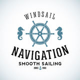 Maritime Navigation Abstract Vector Logo Template. With Shabby Texture. For Any Nautical Business Purpose Stock Photography