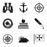 Maritime navigation icons set, simple style Stock Photo