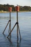 Maritime navigation markers. Royalty Free Stock Photo