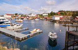 Maritime on the Norwegian fjord. Moored boats Royalty Free Stock Photography