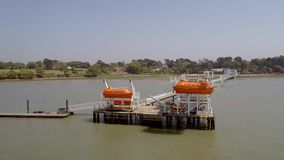 Maritime and Offshore Safety Lifeboat Training Jetty stock video