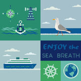 Maritime patchwork poster Royalty Free Stock Image