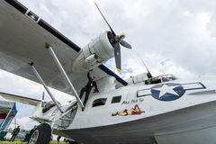 Maritime patrol and search-and-rescue seaplane Consolidated PBY Catalina (PBY-5A). Stock Photos