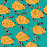 Maritime pattern. Seamless pattern of sea turtles on a blue background Stock Photos