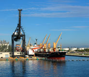 Maritime port. A maritime shipping port in the Carribean Stock Photo
