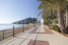 Maritime promenade and beach in balearic town of Santa Eularia. Des Riu, Ibiza, Spain Royalty Free Stock Image