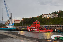 Maritime rescue boat of Salvamento maritimo port of Hondarribia, Basque country, Spain. Royalty Free Stock Photo