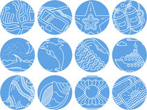 Maritime round icons collection Royalty Free Stock Photo