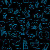 Maritime Seamless Design Pattern. With sea objects such as fish and stars everywhere vector illustration Royalty Free Stock Photography