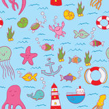 Maritime Seamless Design Pattern. With sea objects such as fish and stars everywhere vector illustration Stock Image