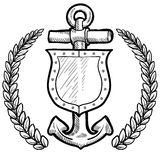 Maritime security or safety shield. Doodle style secure or safety shield and maritime anchor with wreath in vector format Stock Image