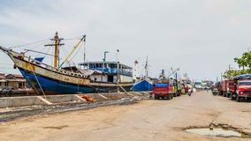 Maritime in Semarang Indonesia. Old harbor with lighthouse in Semarang Indonesia Stock Photos