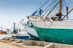 Maritime in Semarang Indonesia. Old ships in the old Dutch harbor in Semarang Indonesia Stock Photography