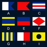 Maritime signal flags A-I Royalty Free Stock Images