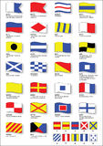 Maritime signal flags with phonetic alphabet stock illustration