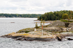 Maritime signs in Aland archipelago. Aland archipelago island with markings royalty free stock photography