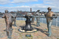 Maritime Statues. A view of statues commemorating the proud maritime history of the city of Helsingborg Royalty Free Stock Image